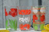 Mix of 3 Swanky Swig Peanut Butter Glasses/ Small Drinking Glass/ Floral Retro