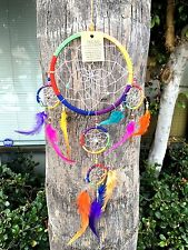 "6"" Dream Catcher Rainbow Colors with Feather Wall Hanging Decoration 20"" Long"