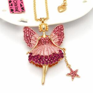 Crystal Pink Enamel Wishing Angel Fairy Pendant Betsey Johnson Chain Necklace