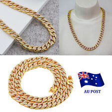 Gold Lab Diamond Cuban Chain Link Micropave Rose Iced Out Men Necklace BO