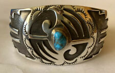 Vintage Navajo Sterling Silver Lone Mountain Turquoise Overlay Cuff Bracelet