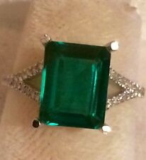 4.70CTS BIG  GREEN  EMERALD & NATURAL DIAMONDS  RING IN 14K WHITE GOLD