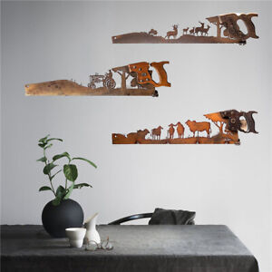 Crosscut Saw Shape Wall Decoration Art Rustic Home Decor Metal Ornament for Home