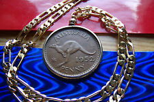 """1952 AUSTRALIA Kangaroo Penny PENDANT on a Nice 5mm Wide 24"""" Gold Filled Chain."""