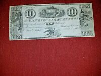 1835 $10 Bank of Washtenaw of Michigan~ Ann Arbor~Crispy Remainder note~Beauty!