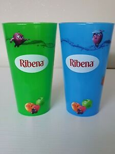 Ribena Collectable Promotional Plastic Beaker Glass 250ml Blue And Green.