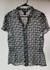 LANE BRYANT Shear Ruffle Black/White Button Front Top Blouse Size 14/16