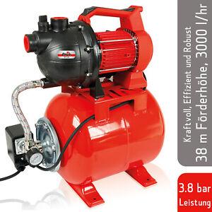 Grizzly Tools Hauswasserwerk 800 Watt, Wasserpumpe, Ansaugtiefe 8m, max. 3,8 bar