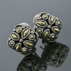 John Hardy Sterling Silver 18K Gold Dot Collection Flower Earrings