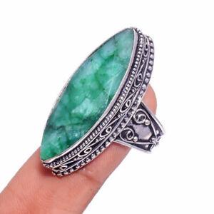 Madagascar Green Emerald Gemstone Handmade Jewelry Vintage Ring Size 9