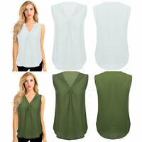 Womens Casual Sleeveless Chiffon Vest Tank Tops T-Shirts Loose Flowy Summer Tee
