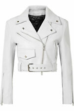 Womens Classic Cropped Biker White Lamb Moto Real Leather Jacket | All Sizes