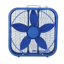 Portable Box Fan 3 Speed 20 inch Floor Desk Room Office Strong Air Cooler Blue
