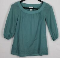 ANN TAYLOR LOFT Size 0 Women's Top 3/4 Puff Sleeve Wide-Neck Peasant Teal Blue