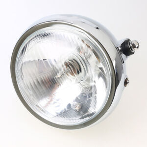 "6"" Round Motorcycle Chrome Metal Retro Headlight Headlamp Fit For Honda CG125"