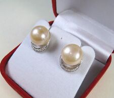 11 MM PEACH PEARL & WHITE SAPPHIRE EARRINGS, WHITE GOLD over 925 STERLING SILVER