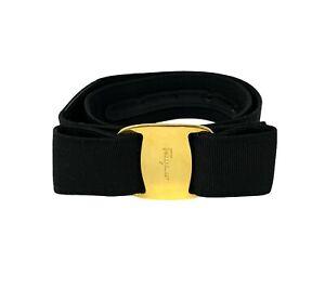 Salvatore Ferragamo Vintage Logo Vara Ribbon Buckle Belt Black Gold RankAB