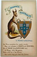 .c1910 EMBOSSED PATRIOTIC ADVANCE AUSTRALIA KANGAROO CHRISTMAS XMAS POSTCARD.