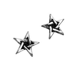 Alchemy Metal Wear Pentagram Earrings Magical Pagan Pewter Surgical Steel Posts