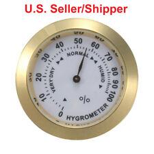 Analog Hygrometer Humidity Gauge 1.46 in. Dia Metal Bezel, Gold