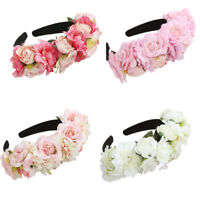 Bridal Rose Flower Headband Crown Wedding Hairband Garland Floral Wreath Beach