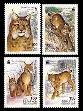Belarus 2000 Endangered Lynx set of 4 with WWF Panda Logo MNH