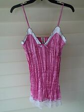 """Gimger Boutique"" Hot Pink Crinkled Nylon Spaghetti Strap Cami Top~L (M)~NWOT"