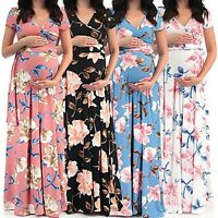 Maternity Womens Pregnant Floral Short Sleeve Summer Party Boho Maxi Long Dress