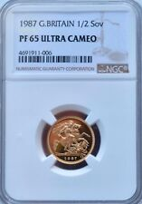 1987 Gold Half Sovereign Proof PF65 NGC Great Britain 1/2 Sov Ultra Cameo