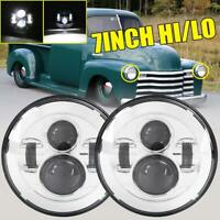 "Pair Chrome 7"" inch Round LED Headlights Hi/Lo for Chevy C10 Camaro Pickup Truck"