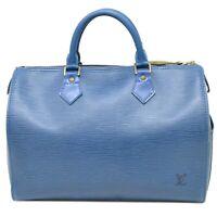 Louis Vuitton Speedy 30 M43005 Epi Leather Hand Mini Boston Bag Tote Blue LV
