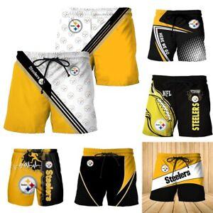 2021 New Pittsburgh Steelers Beach Shorts Summer Swim Trunks Fan Casual Swimsuit