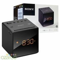 Sony FM/AM Modern Small Cube Clock Radio with Alarm and Snooze - Black, ICF-C1
