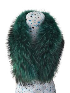 COLLO PELLICCIA di MURMASKY VERDE FOURRURE de RENARD silver FOX LIGHT GREEN