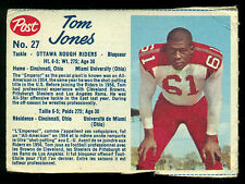 1962 POST FOOTBALL CFL #27 TOM JONES VG-EX OTTAWA ROUGH RIDERS MIAMI UNIV