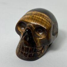 """2"""" Tiger Eye Skull Figurine Carved Crystal Polished Natural Stone Pocket Size"""