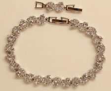 "BEAUTIFUL 18K WHITE GOLD FINISH DIAMOND TENNIS BRACELET S LINK 7.5"""