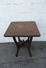 Late 1800s Victorian Eastlake Solid Oak Side Center Table 8265