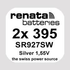2x Renata 395 Uhren-Batterie Knopfzelle SR927SW SR927 AG7 1,55V Silberoxid Neu