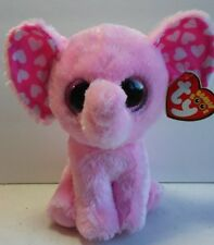 "Ty Beanie Boos Elephant SUGAR Plush With White Valentine Hearts 6"" New"