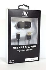 Just Wireless 2.4 Amp USB Car Charger with 5ft Micro USB Cable Black, 13000