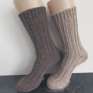 2 Pair Women's MH Alpaca Chunky Knitted Wool Socks 100% Light Dark Brown 35 - 42
