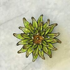 Vintage Solid 800 Silver Filigree Green Enamel 3D Flower Floral Pin Brooch 8.34g