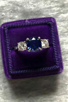 3 Ct Round Cut Blue Sapphire Diamond Trilogy Engagement Ring 14k White Gold Over