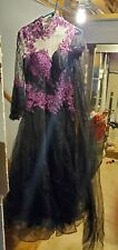 One Of A Kind Black And Purple Handmade Wedding Dress Halloween And Gothic!!