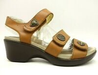 Alegria Brown Leather Adjustable Casual Heel Sandals Shoes Women's 38 / 8 - 8.5