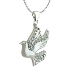 New .925 Sterling Silver Cubic Zirconia Dove Bird Pendant Necklace
