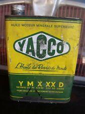 ancien  bidon HUILE YACCO Y M X XX D, indus.,GARAGE AUTO MOTO,no émaillée