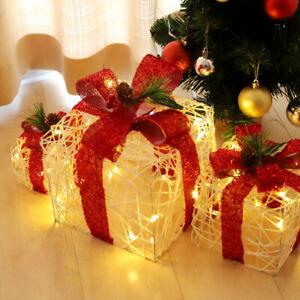 3er Set LED Geschenkbox Weihnachten Beleuchtete Geschenkboxen Weihnachtsdeko