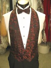 Mens Formal Vest Wine Matching Bow Tie Included Size Medium